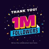 1m followers, one million followers social media post background template. Creative celebration typography design with confetti or. Nament for online website royalty free illustration