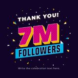 7m followers, seven million followers social media post background template. Creative celebration typography design with confetti. Ornament for online website vector illustration