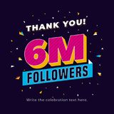 6m followers, six million followers social media post background template. Creative celebration typography design with confetti or. Nament for online website vector illustration