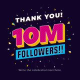 10m followers, ten million followers social media post background template. Creative celebration typography design with confetti o. Rnament for online website royalty free illustration
