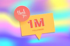 1M followers thank you post for social media. Vector illustration. 1M followers thank you post with decoration. 1000000 subscribers banner with speech bubble Vector Illustration