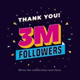 3m followers, three million followers social media post background template. Creative celebration typography design with confetti. Ornament for online website vector illustration