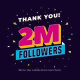 2m followers, two million followers social media post background template. Creative celebration typography design with confetti or. Nament for online website royalty free illustration