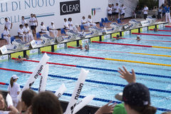 200 M freestyle - FINAL - finish - Woman Royalty Free Stock Image