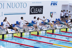 200 M freestyle - FINAL - Start - Woman Stock Photos