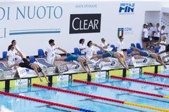 200 M freestyle - FINAL - Start - Woman stock photos