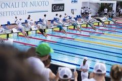200 M freestyle - FINAL - Start - Woman stock photo