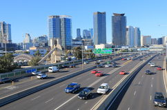 M1 freeway trafic Melbourne downtown. Stock Images