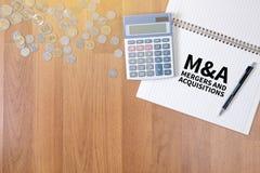 M&A (FUSIONEN UND ERWERB) lizenzfreies stockbild