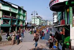 M G Marg, Gangtok. Local people enjoying a sunny morning at Mahatma Gandhi Marg, the main business and tourism centre of Gangtok, Sikkim, India Stock Photos