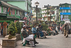 M G Marg, Gangtok. Local people enjoying a sunny morning at Mahatma Gandhi Marg, the main business and tourism centre of Gangtok, Sikkim, India Stock Photography
