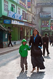 M G Marg, Gangtok. Local people enjoying a sunny morning at Mahatma Gandhi Marg, the main business and tourism centre of Gangtok, Sikkim, India Royalty Free Stock Photography