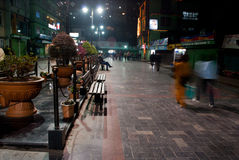 M G Marg at night. Local people enjoying a cold evening at Mahatma Gandhi Marg, the main business and tourism centre of Gangtok, Sikkim, India Stock Photography