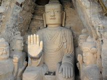 The 28 m Giant Buddha (Dafo) of buddhist cave complex Tiantishan. The 28 m Giant Buddha (Dafo) of buddhist cave complex Tiantishan (Tiantishan Grottoes) is Royalty Free Stock Images