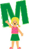 M Girl/eps. Crayon-type illustration of a girl with the letter M...eps available...full alphabet in portfolio Stock Photo