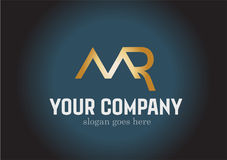 M. Golden Letter Logo Design Vector Photographie stock libre de droits