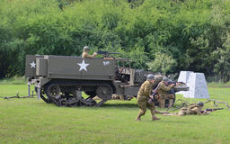 M3 Half-track in historical reenactment of WWII Royalty Free Stock Photo