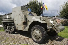 M3 Half-track in Stavelot with American and Belgian colors Stock Photo
