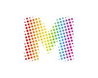 M Halftone Letter Colorful Dot Logo Icon Design illustration stock