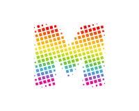 M Halftone Letter Colorful Dot Logo Icon Design illustration libre de droits