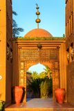 M'hamid, Morocco - February 22, 2016: Chez le Pacha hotel front door outside view. M'hamid, Morocco - February 22, 2016: typical arabic style front door outside royalty free stock photo