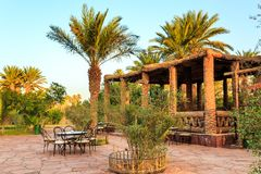M'hamid, Morocco - February 22, 2016: Chez le Pacha hotel inside view. Of the patio and typical arabic inside garden to relax royalty free stock image