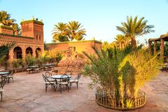M'hamid, Morocco - February 22, 2016: Chez le Pacha hotel inside view. Of the patio and typical arabic inside garden to relax royalty free stock photo