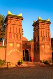 M'hamid, Morocco - February 22 2016: Chez le Pacha hotel outside view. M'hamid, Morocco - February 22, 2016: typical arabic style front view of Chez le Pacha royalty free stock images