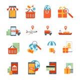 M-handel Geplaatste Pictogrammen Royalty-vrije Stock Afbeeldingen