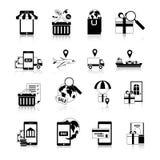 M-handel Zwarte Witte Geplaatste Pictogrammen Stock Afbeelding