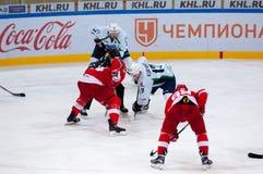 M. Hogstrom (4) and A. Kuryanov (17) on faceoff Stock Photos