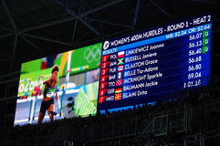 400m hurdles at Rio2016 Olympics. Screen showing heat 2 results for women's 400m hurdles at Rio2016 Olympics. Picture taken on Aug 15, 2016 Stock Images