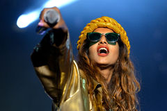 M.I.A., a rapper named Mathangi Maya Arulpragasam, performs at FIB Festival Royalty Free Stock Image
