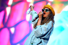 M.I.A., a rapper named Mathangi Maya Arulpragasam, performs at FIB Festival Stock Photo