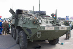 M1126 Infantry Carrier Vehicle. Close-up view of an United States Army M1126 Infantry Carrier Vehicle, in display with the NATO Caravan in Ploiesti, Romania, May royalty free stock photo