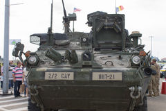 M1126 Infantry Carrier Vehicle. Frontal view of an United States Army M1126 Infantry Carrier Vehicle, in display with the NATO Caravan in Ploiesti, Romania, May stock images