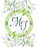 M&J πράσινη γαμήλια πρόσκληση Στοκ Εικόνες
