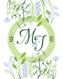 M&J zieleni ślubny zaproszenie Zdjęcie Stock