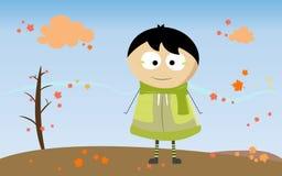 M. jongen met de herfstseizoen Stock Foto's