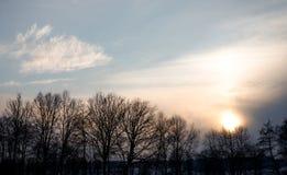 M?ktig solnedg?ng i vintern med moln och n?gra tr?d i de europeiska fj?ll?ngarna p? en kall dag i vinter arkivfoton