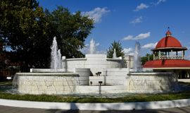 M.L. Harry Memorial Fountain. This is a Summer picture of he M.L. Harry Memorial Fountain located in Central Park in Decatur, Illinois in Macon County.  This Royalty Free Stock Images