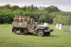M3 ślad w dziejowym reenactment WWII Zdjęcie Stock