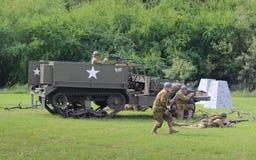 M3 ślad w dziejowym reenactment WWII Zdjęcie Royalty Free