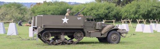 M3 ślad w dziejowym reenactment WWII Zdjęcia Royalty Free