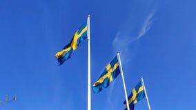 M?lange de ondulation de drapeau su?dois au ralenti sous le ciel bleu dans les m?ts de drapeau pendant le jour national banque de vidéos