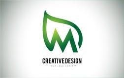 M Leaf Logo Letter Design with Green Leaf Outline Stock Photos