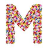 M, letra do alfabeto em flores diferentes Imagens de Stock Royalty Free