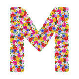 M,  letter of the alphabet in different flowers Royalty Free Stock Images