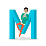 M Letter and Boy Chats on Smartphone. ABC Vector Royalty Free Stock Images