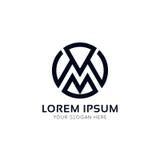 M letter circle icon monogram sign company vector logo design. M letter icon monogram sign company vector logo design Royalty Free Stock Photography